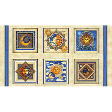 "CELESTIAL SOL BLOCK PANEL  SUN MOON STARS  23""x44"" QT COTTON FABRIC  DAN MORRIS"