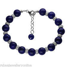"8mm GENUINE NAVY BLUE LAPIS LAZULI BEADS 6.75"" LONG 925 STERLING SILVER BRACELET"