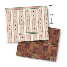 "1/4"" Scale Wallpaper - Trim & Tidy 1952 Vintage with Faux Parquet Floor (1:48)"