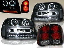 02-09 CHEVY TRAILBLAZER PROJECTOR BLACK CCFL HALO HEADLIGHTS + LED TAIL LIGHTS