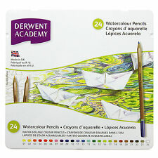 Derwent Academy WATERCOLOUR Assorted Pencils Tin of 24 - Same Day Dispatch