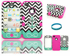 Apple IPhone 4 4s Hybrid Cover Case Teal B Anchor Chevron Infinity Love Pink
