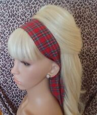 RED ROYAL STEWART TARTAN COTTON CHECK HEAD SCARF HAIR BAND SELF TIE BOW RETRO