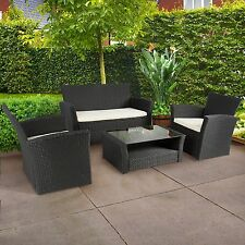 4pc Garden Wicker Rattan Sofa Set Outdoor Couch Deck Sectional Furniture Black