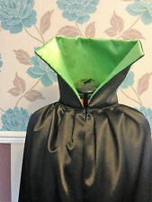 long black satin cloak.with lime green  lining  large collar. rocky horror style