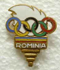 f866 Romania communist pin badge of the National Olympic Committee NOC torch
