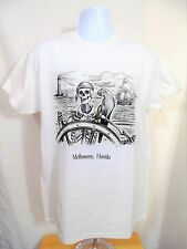 Melbourne Florida Pirate & Parrot Mens White Graphic T-Shirt-Medium-NWT