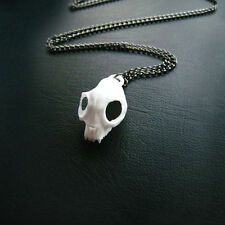 Rogue and Wolf White Cat Skull Chain Necklace, witches, gothic, taxidermy