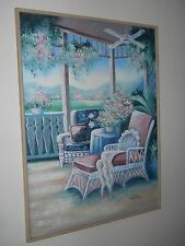 """Oil Painting signed Lee Reynolds 35"""" x 47"""" – Lazy Afternoon - Floral & Garden"""