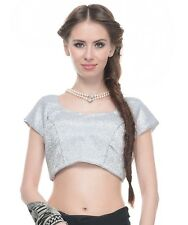 Latest Blouse Fashion - Shimmering Silver Lurex Fabric Ladies Padded Top 36""