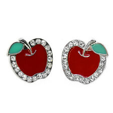 Beautiful Red Apple Shape with White Crystals Earring Studs  (15mm X 15mm)