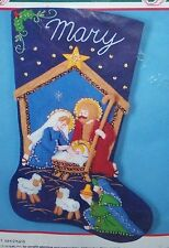"Bucilla Vintage ""THE HOLY NATIVITY"" Felt Christmas Stocking Kit Baby Jesus 82825"