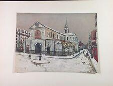 """1953 Vintage Full Color Art Plate """"NOTRE DAME DE CLIGNANCOURT"""" by UTRILLO Litho"""
