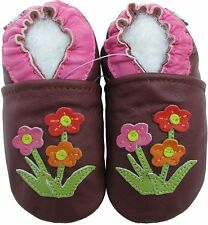 carozoo wildflower purple 6-12m new soft sole leather baby shoes