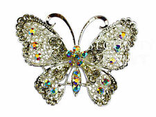 Large Vintage Alloy & Rhinestone Diamante Butterfly Brooch Broach Pin Wedding