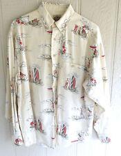 Barn Fly Button Down LS Western Shirt Cowboy Surfer Beach Boy Mens Medium
