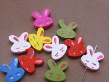 20 Assorted Color Bunny 20x20mm Wood Beads, (G21J40)