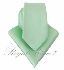 "Men's Pastel Mint Green 2.75"" Inches Necktie and Pocket Square Hanky Set 2000V"
