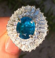 3.24ct Earth Mined Blue Apatite Sterling Silver Cocktail ring size 8
