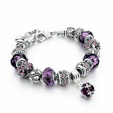 Purple European 925 Glass Bead Charms Bracelet Crystal Women Christmas Jewelry