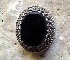 Vintage Black Glass Silver Filigree Fashion Pin / Brooch