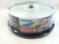 25 Philips Logo Blank DVD+R DVDR Dual Double Layer DL Disc Media 8.5GB Cake Box