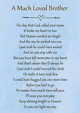 A Much Loved Brother Memorial Graveside Poem Card & Free Ground Stake F107