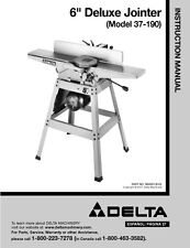 "Delta 37-190 6"" Deluxe Jointer Instruction Manual"