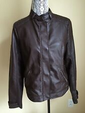 Hollister Womens Faux Leather Moto Bikers Jacket Brown  L NWOT MINT