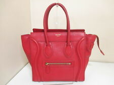 Authentic CELINE Red Luggage Micro Shopper Leather Tote Bag w/ Dust Bag