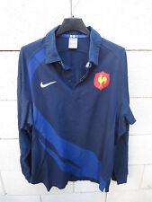 VINTAGE Maillot rugby QUINZE de FRANCE NIKE coton shirt L bleu marine