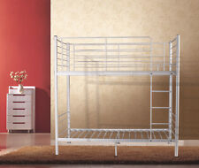 City Sturdy Metal Frame Single to Single Bunk Bed in White