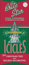 """NEW Brite Star 18"""" 2000 Strands of Silver Icicles Christmas Tree Tinsel"""