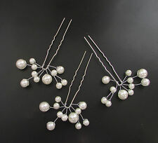 3x Ivory White Pearl Vine Hair Pins Bridal Wedding Silver Wire Headpiece Set 483