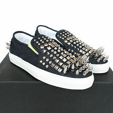 DSQUARED2 $960 spike studded denim sneakers slip-on spiked dsquared shoes 42 NEW