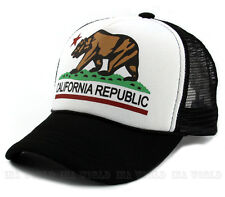 California Republic hat Foam Trucker Mesh Snapback Baseball cap- White/Black