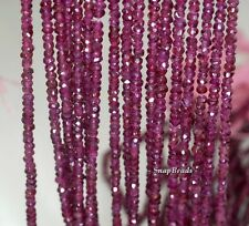 3X2MM BRAZILLIAN RED GARNET GEMSTONE AA FACETED RONDELLE LOOSE BEADS 14""
