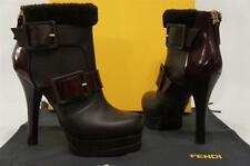 FENDI  MOORLAND SHEARLING BUCKLE LEATHER PLATFORM BOOTS BOOTIES SHOES 37/7 $1140