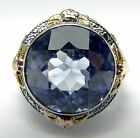 ANTIQUE 7CT SYNTHETIC SAPPHIRE 12mmx7mm 14K GOLD FILIGREE RING OSTBY BARTON?5.25