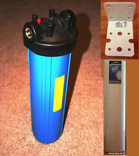 "Big Blue 20"" Whole House Water Filter System (1""Port) +Mounting Bracket + Filter"