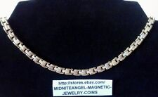 """18"""" GOLD gp SILVER sp COPPER CLASSIC LINKS STYLE MAGNETIC CHOKER* MATCH BRACELET"""