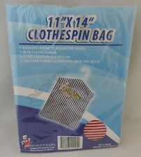 """Fabric 11"""" x 14"""" Clothespin Bag/Holder with Hanger Laundry Assorted Colors"""