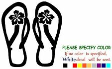 Flip Flop with Hibiscus Funny Vinyl Decal Sticker Car Window laptop netbook 7""