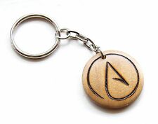 Atheist Keyring Symbol Gift Wood Burned Keychain Atheism Gift Rustic Wood Charm
