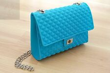 NEW WOMEN LIGHT BLUE JELLY FROSTED CANDY SILICONE SHOULDER PURSE HANDBAG SATCHEL
