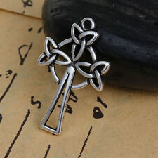 ANTIQUE SILVER INFINITY/CELTIC KNOT CROSS PENDANT~30x19mm~Necklace~Rosary ()