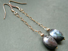 Peacock Black Freshwater Coin Pearls & 14ct Rolled Rose Gold Chain Earrings