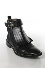 Zara Woman Black Leather Almond Toe Buckle Detail Ankle Boot Shoe Size 38 8