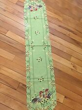 Embroidered French Country Rooster Sage Table Runner Scalloped Sunflower Linen