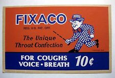 Authentic Vintage 1939 Fixaco Throat Confection Advertising Sign
